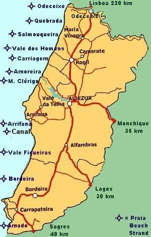 Beaches Aljezur Surfspots Algarve Praia Odeceixe Praia - Portugal map beaches